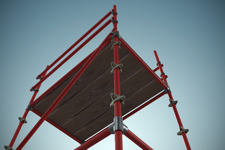 3d image of red scaffolding against grey vignette