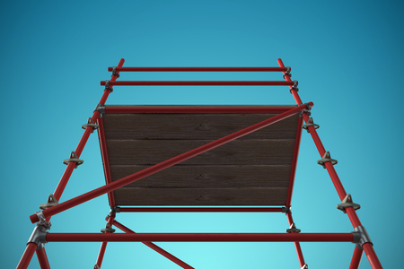 well dressed: 3d image of red scaffolding against blue vignette background