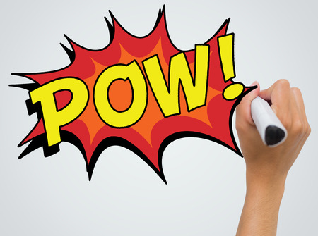 The word pow against female hand writing with marker Stock Photo