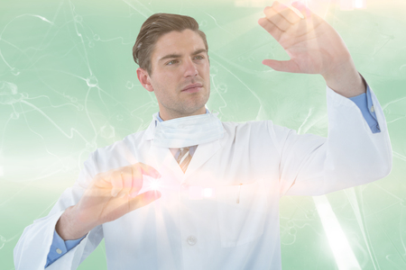 infectious disease: Doctor pretending to be doing experiment against digitally composite image of blue virus 3d