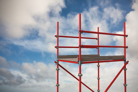 Digitally generated image of red scaffoldings against blue sky with white clouds 3d Stock Photo