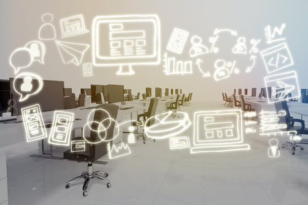 swivel: Digital generated image of various business icons against office furniture