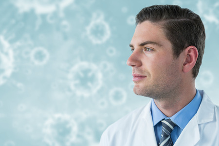 Thoughtful doctor in labcoat against virus in human body 3d Stock Photo