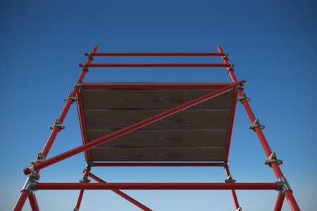 3d image of red scaffolding against blue sky background 3d