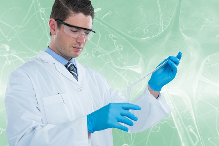 biomedical: Doctor in medical gloves filling the test tube against graphic image of blue virus 3d