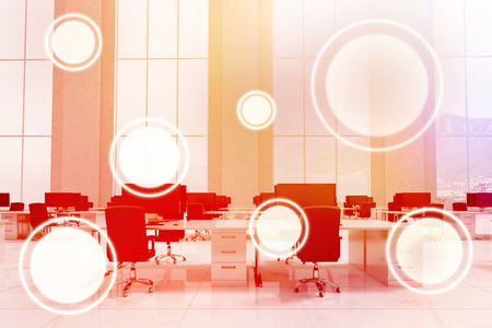 Circles against white background against office furniture in white room 3d