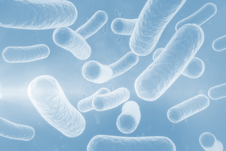 spirit level: Digital image of blue bacteria in human body 3d Stock Photo