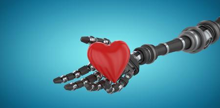 3d image of robot hand holding heard shape decoration against blue vignette background 3d Stock Photo