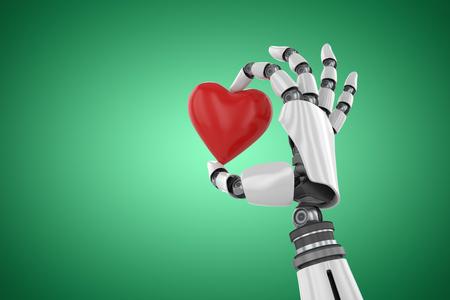 3d image of cyborg holding red heart shape decor against green vignette 3d Banco de Imagens