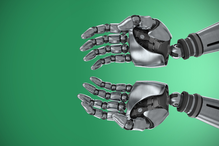Composite image of robotic hands Stock Photo
