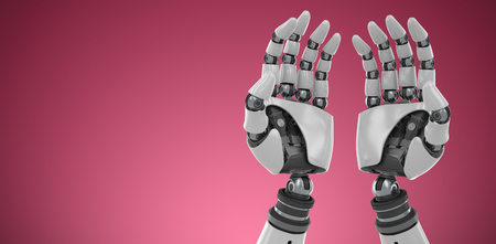 Composite image of robotic hands against white backgroun against red and white background