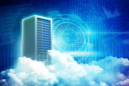 Scenic view of white fluffy clouds against server tower 3d