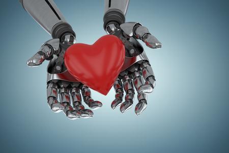 Three dimensional image of robot holding red heard shape against grey vignette 3d Banco de Imagens