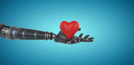 Three dimensional image of cyborg holding red heart shape decor against blue vignette background 3d Stock Photo
