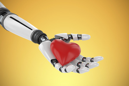 3d image of bionic person holding red heart shape decor against yellow vignette Stock Photo