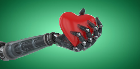 username: Three dimensional image of cyborg holding red heart shape decoration against green vignette 3d Stock Photo