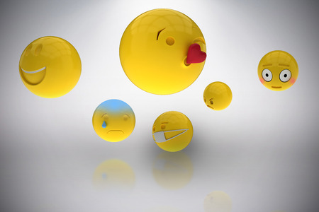 Three dimensional image of basic emoticons against grey background 3d Stock Photo