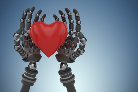 Three dimensional image of robot hand holding red heard shape against purple vignette 3d Stock Photo