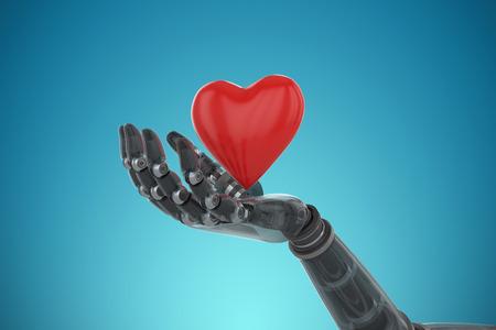 username: 3d image of bionic person holding heard shape decoration against blue vignette background