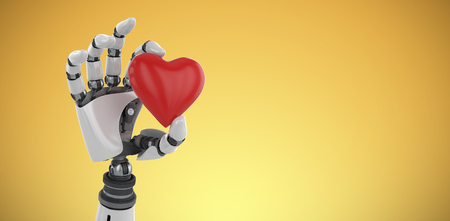 3d image of cyborg showing red heart shape decor against yellow vignette