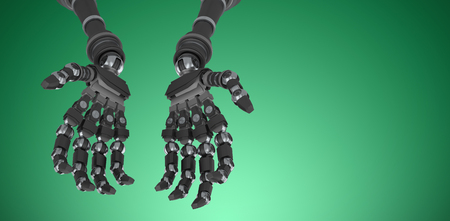 Composite image of robotic hands against white backgroun against green vignette
