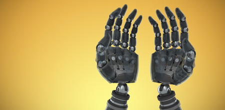 Composite image of robotic hands against white backgroun against yellow vignette