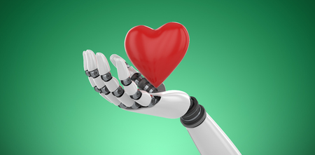 3d image of cyborg showing red heart shape   against green vignette Stock Photo