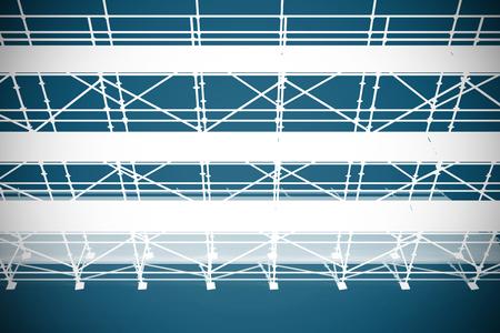 High angle 3d illustration of red metal grate against dark blue background Banco de Imagens