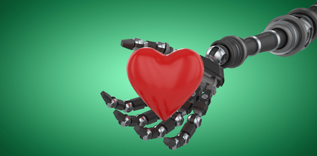 Three dimensional image of robot hand holding red heard shape against green vignette 3d Stock Photo