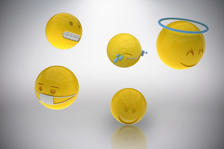 anthropomorphic: Three dimensional image of various smileys against grey background 3d