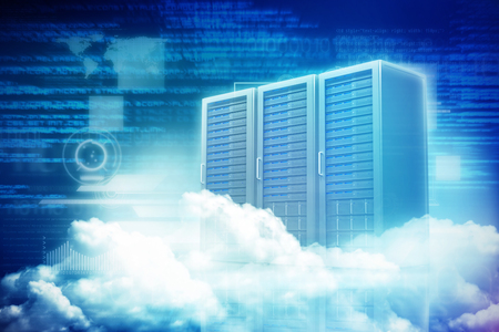 graphical user interface: Scenic view of white fluffy clouds against three digital grey server towers 3d