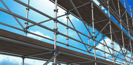 3d image of construction scaffolding against blue sky
