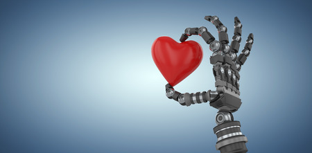 3d image of robot hand holding red heard shape decoration against purple vignette Stock Photo