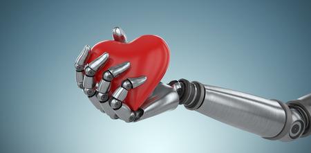 Three dimensional image of cyborg holding heard shape against grey vignette 3d
