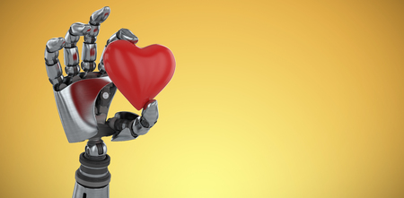 Three dimensional image of robot showing red heard shape decoration against yellow vignette 3d Stock Photo