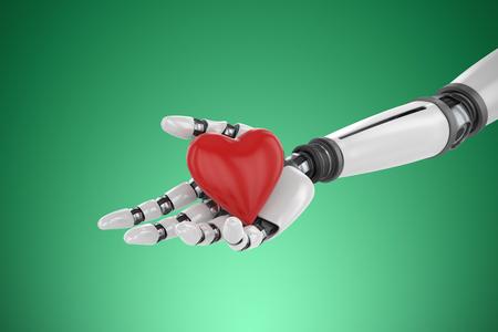 3d image of bionic person holding heart shape decor against green vignette