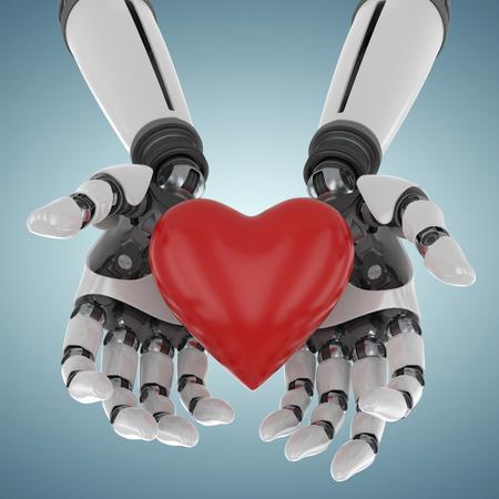 Image 3d de cyborg tenant le décor de forme de coeur contre la vignette grise 3d
