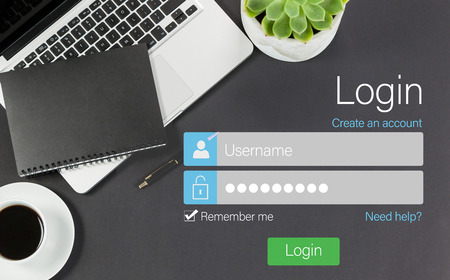 graphical user interface: Connection page against composite image of login page