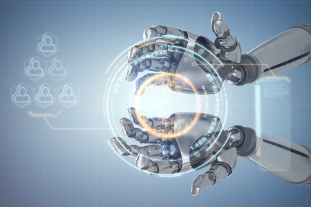 Composite image of robotic hands against white backgroun against digital image of globe with big data text and social connectivity 3d Stock Photo