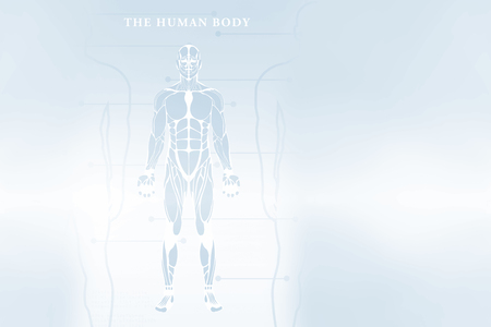 Composite image of human body over white background