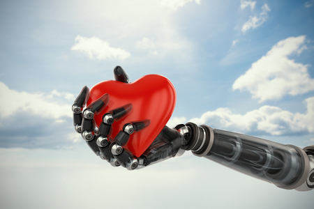 Three dimensional image of cyborg holding red heart shape decoration against blue sky 3d Stock Photo