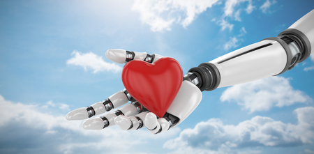 3d image of bionic person holding heart shape decor against blue sky Stock Photo