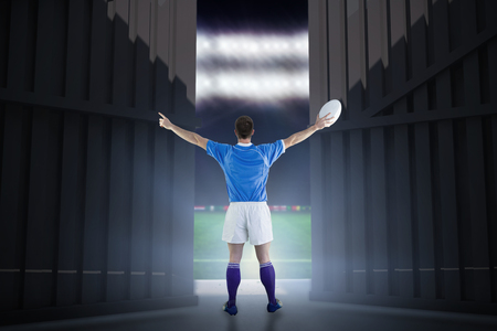 Rugby player about to throw a rugby ball against football pitch with  cup flags 3d