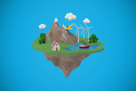 Composite image of a island icons against blue background 3d