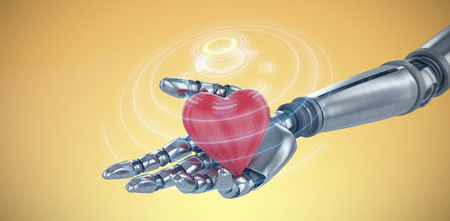 volume knob: 3d image of cyborg holding heard shape decoration against digital image of volume knob Stock Photo