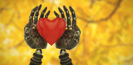 Three dimensional image of cyborg holding heart shape decoration against branches and autumnal leaves 3d