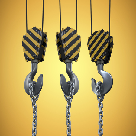 computer animation: Studio Shoot of a crane lifting hook against yellow vignette