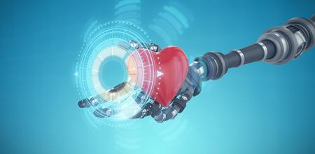 volume knob: 3d image of robot hand holding heard shape decoration against digitally generated image of illuminated volume knob