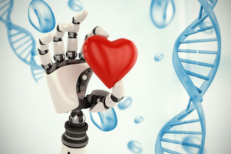 medical headwear: 3d image of cyborg showing red heart shape decor against blue chromosomes on blue background