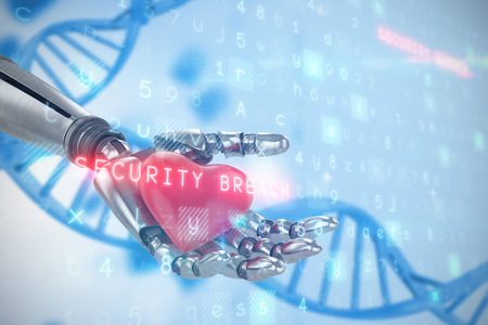 Virus background against medical background with blue dna helix 3d Stock Photo